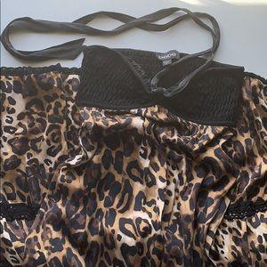 Bebe silk cheetah print maxi dress